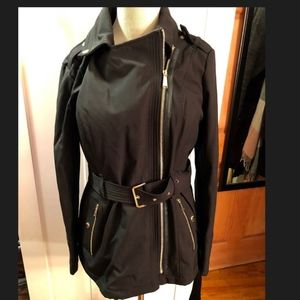 Michael Kors Black Zip belted Jacket